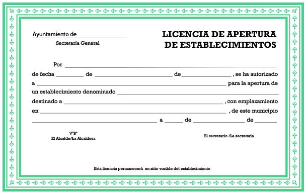 Licencia apertura de establecimiento